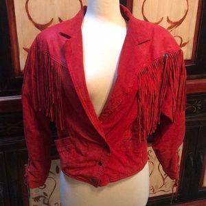 80's red leather fringe coat